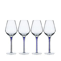 Home Collection - Set of four blue teardrop wine glasses