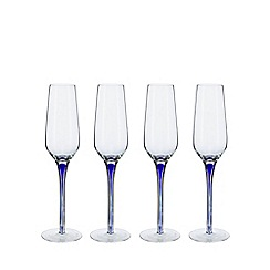Home Collection - Set of four blue teardrop flute glasses