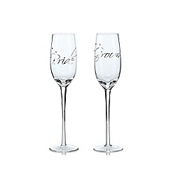 Star by Julien Macdonald - Set of 2 'Bride And Groom' champagne flutes