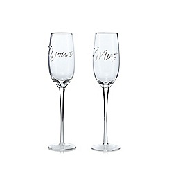 Star by Julien Macdonald - Set of 2 'Yours And Mine' champagne flutes