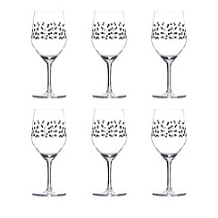 Istyle - Set of six star print wine glasses