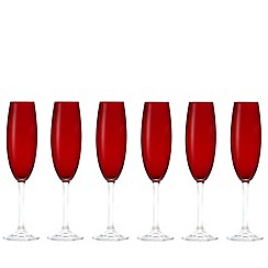 Istyle - Pack of six red flute glasses