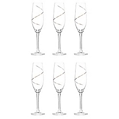 Star by Julien Macdonald - Set of six gold glass swirl flutes