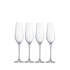 J by Jasper Conran - Designer set of four crystalline 'Belgravia' champagne flutes