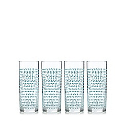 Home Collection Basics - Set of four light blue spotted highball glasses