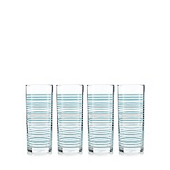 Home Collection Basics - Set of four light blue striped highball glasses