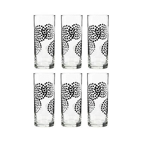 Debenhams - Set of six glass dots hi-ball glasses