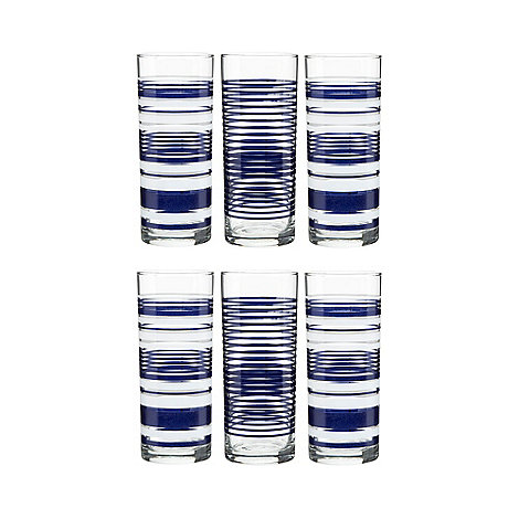 Home Collection - Set of six glass stripes hi-ball glasses