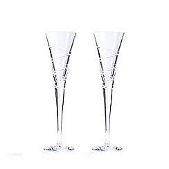 Debenhams - Set of two 'Aria' crystal flutes