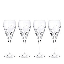 Debenhams - Box of four 'Beatrice' crystal wine glasses