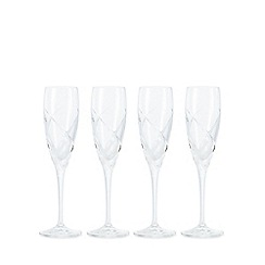 Debenhams - Box of four 'Beatrice' crystal glass flutes