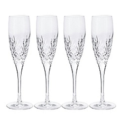 Debenhams - Set of four 'Castalia' crystal champagne flutes