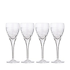 Debenhams - Set of four 'Aria' crystal small wine glasses