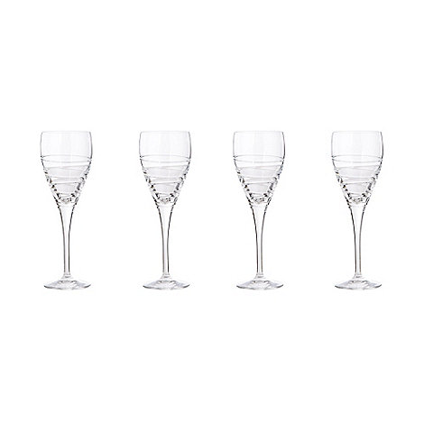 Debenhams - Set of four 24% lead crystal +Aria+ large wine glasses