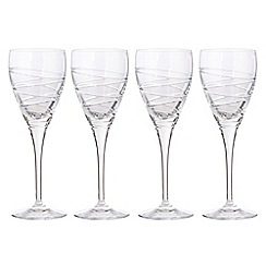 Debenhams - Set of four 24% lead crystal 'Aria' small wine glasses