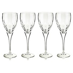 Debenhams - Set of four 24% lead crystal 'Amelia' wine glasses