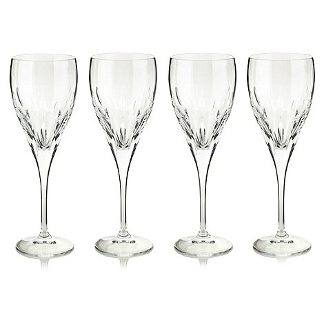Debenhams - Set of four 24% lead crystal +Amelia+ wine glasses