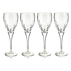 Debenhams - Set of four 24% lead crystal 'Amelia' small wine glasses