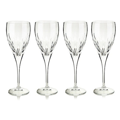 Debenhams - Set of four 24% lead crystal +Amelia+ small wine glasses