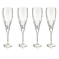 Debenhams - Set of four 24% lead crystal 'Amelia' flutes