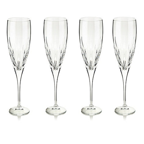 Debenhams - Set of four 24% lead crystal +Amelia+ flutes