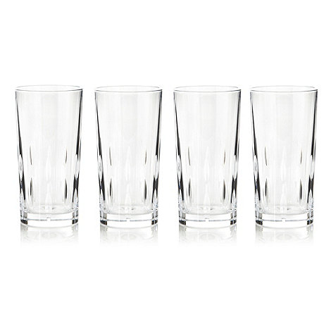 Debenhams - Set of four 24% lead crystal +Amelia+ high ball glasses