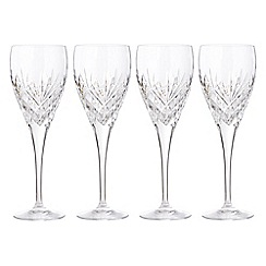 Debenhams - Set of four 24% lead crystal 'Castalia' large wine glasses