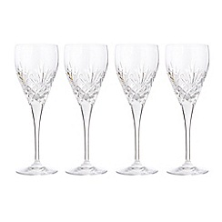 Debenhams - Set of four 24% lead crystal 'Castalia' small wine glasses