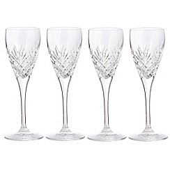 Debenhams - Set of four 24% lead crystal 'Castalia' liqueur glasses