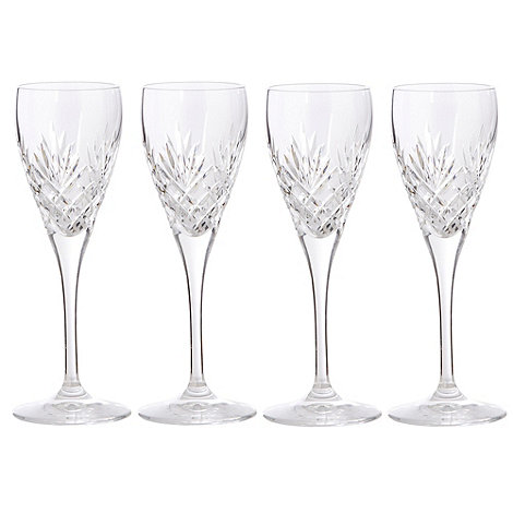 Debenhams - Set of four 24% lead crystal +Castalia+ liqueur glasses