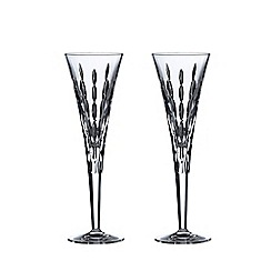 Royal Doulton - Set of 2 lead crystal 'Neptune' celebration champagne flutes