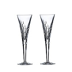 Royal Doulton - Set of 2 lead crystal 'Abacus' champagne flutes