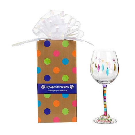Momo Panache - +Happy Birthday+ wine glass