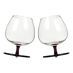 Sagaform - Pack of two purple rocking brandy glasses