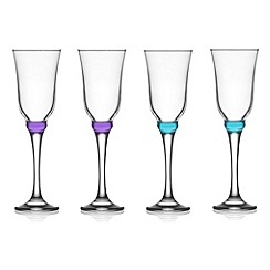 Istyle - Set of four blue tinted champagne flutes