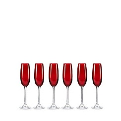 Ben de Lisi Home - Set of six red glass flutes