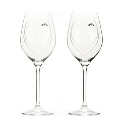 Star by Julien MacDonald - Designer set of two glass Swarovski hand-cut heart wine glasses