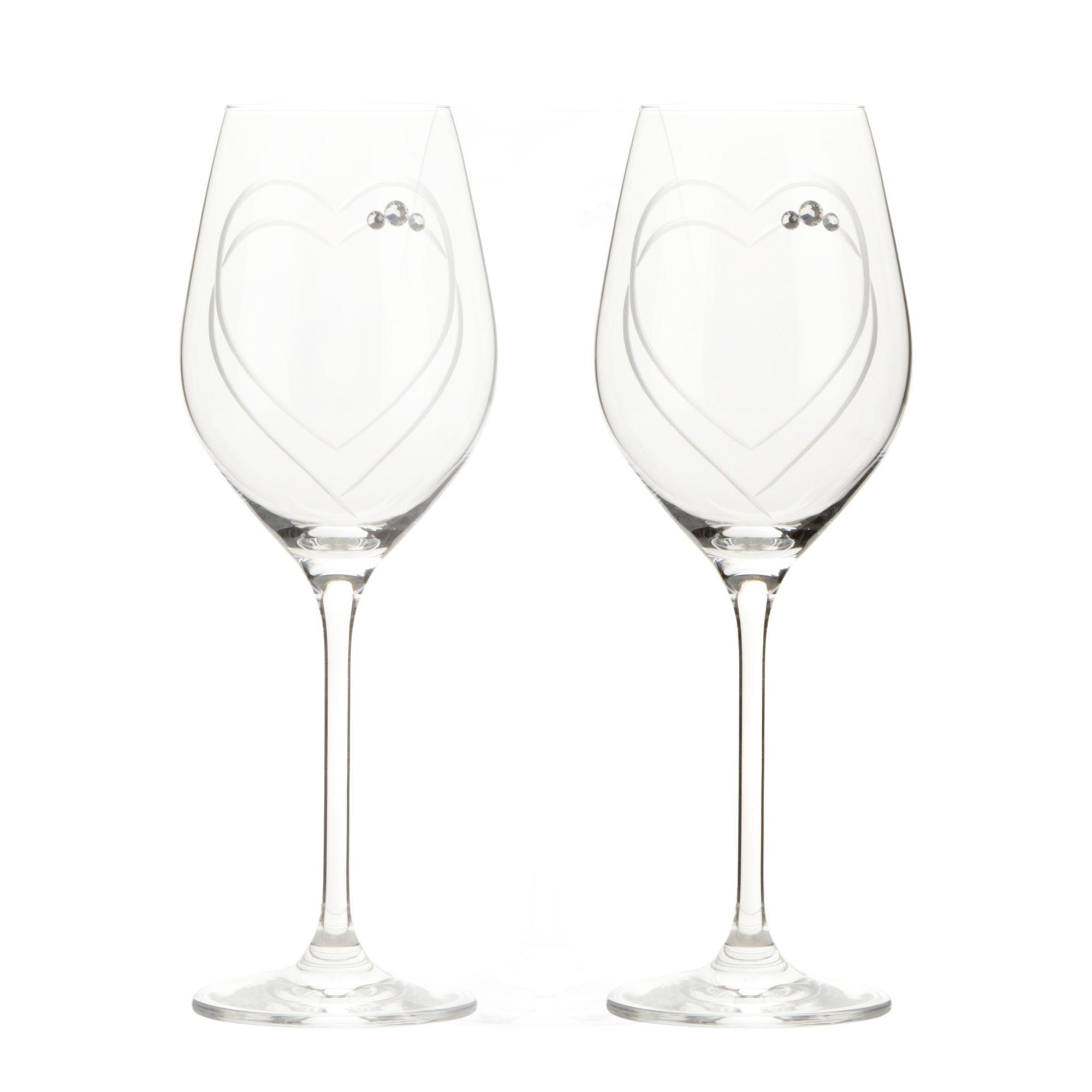 Designer Set Of Two Glass Swarovski Hand Cut Heart Wine