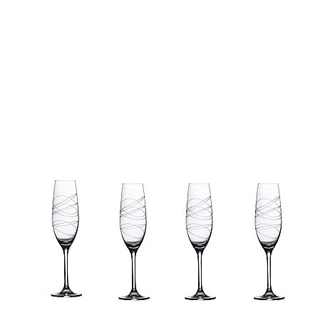 Royal Doulton - Set of four +RD Party+ glass etched champagne flutes