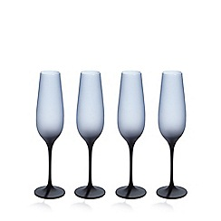 Betty Jackson.Black - Set of four dark blue 'graded' glass flutes