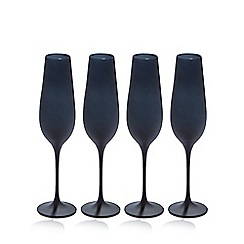 Betty Jackson.Black - Set of four black 'graded' glass flutes