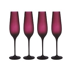 Betty Jackson.Black - Set of four designer dark red 'Graded' champagne flutes