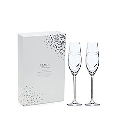 Star by Julien Macdonald - Set of 2 Swarovski crystal heart hand cut champagne flutes