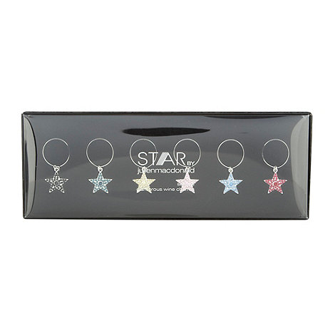 Star by Julien Macdonald - Set of six silver wine glass charms