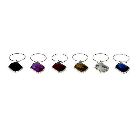 Star by Julien Macdonald - Set of six silver faceted wine glass charms