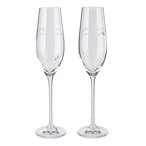 Star by Julien Macdonald - Set of 2 hand crafted 'Heart' champagne flutes