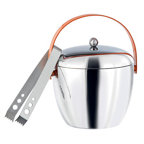 Royal Doulton - 'Pop in for Drinks' stainless steel ice bucket and tongs