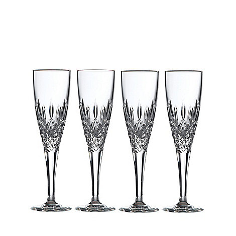 Royal Doulton - Box of four 24% lead crystal +Highclere+ champagne flutes