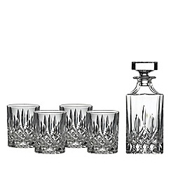 Royal Doulton - 5 piece polished finish crystalline and crystal 'Square decanter Spirit' set
