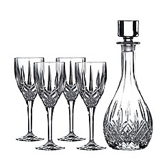 Royal Doulton - 5 piece polished finish crystalline and crystal wine decanter set